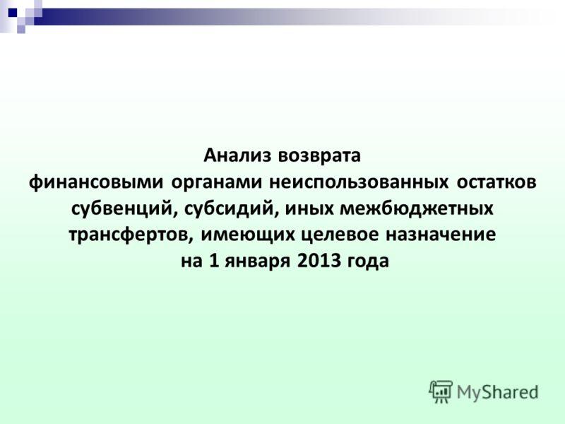 Анализ возврата финансовыми органами неиспользованных остатков субвенций, субсидий, иных межбюджетных трансфертов, имеющих целевое назначение на 1 января 2013 года