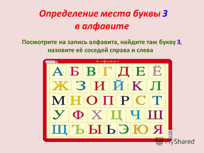 Определение места буквы З в алфавите Посмотрите на запись алфавита, найдите там букву З, назовите её соседей справа и слева