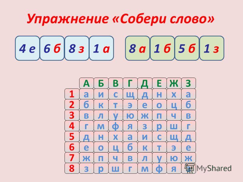 Упражнение «Собери слово» АБВГДЕЖЗ 5днхаисщд 2 бктэеоцб 3влуюжпчв 4гмфязршг 1аисщднха 6 еоцбктэе 7жпчвлуюж 8зршгмфяз 4 е8 з6 б1 а1 з5 б1 б8 а