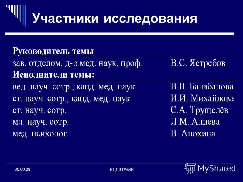НЦПЗ РАМН2 30.09.08 Участники исследования