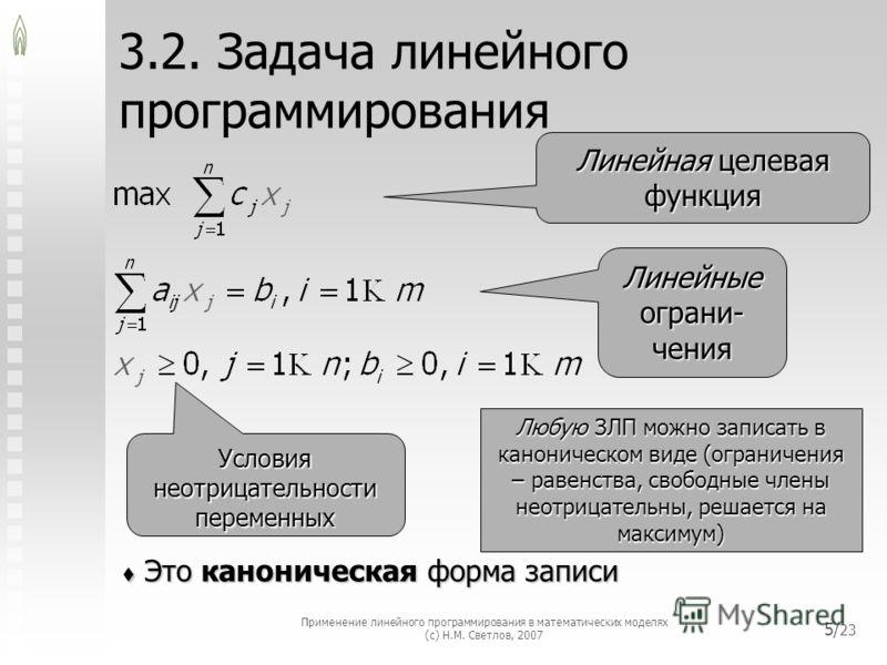 Применение линейного программирования в математических моделях (с) Н.М. Светлов, 2007 5/ 23 3.2. Задача линейного программирования Это каноническая форма записи Это каноническая форма записи Линейная целевая функция Линейные ограни- чения Условия нео