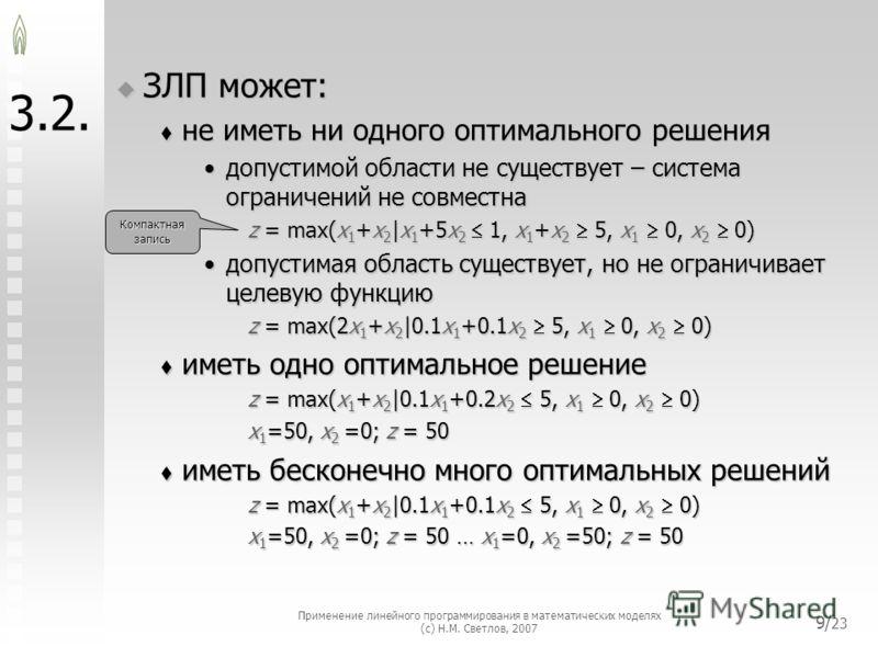 Применение линейного программирования в математических моделях (с) Н.М. Светлов, 2007 9/ 23 3.2. ЗЛП может: ЗЛП может: не иметь ни одного оптимального решения не иметь ни одного оптимального решения допустимой области не существует – система ограниче