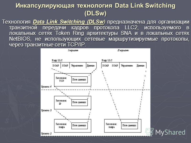 Инкапсулирующая технология Data Link Switching (DLSw) Технология Data Link Switching (DLSw) предназначена для организации транзитной передачи кадров протокола LLC2, используемого в локальных сетях Token Ring архитектуры SNA и в локальных сетях NetBIO
