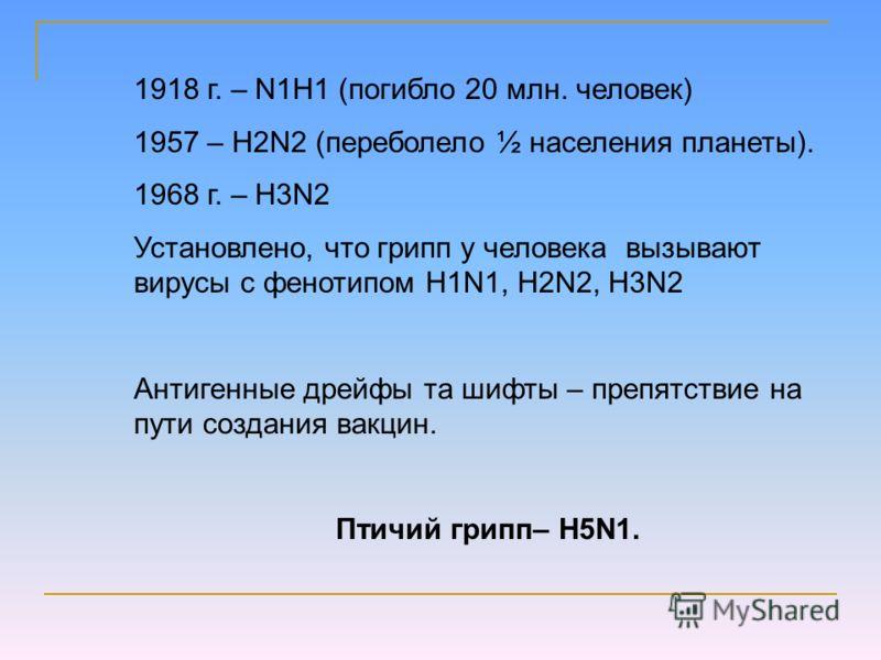 1918 г. – N1H1 (погибло 20 млн. человек) 1957 – H2N2 (переболело ½ населения планеты). 1968 г. – H3N2 Установлено, что грипп у человека вызывают вирусы с фенотипом H1N1, H2N2, H3N2 Антигенные дрейфы та шифты – препятствие на пути создания вакцин. Пти