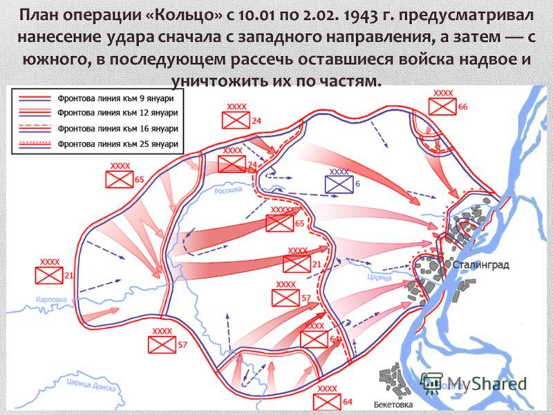 План операции «Кольцо» с 10.01 по 2.02. 1943 г. предусматривал нанесение удара сначала с западного направления, а затем с южного, в последующем рассечь оставшиеся войска надвое и уничтожить их по частям.