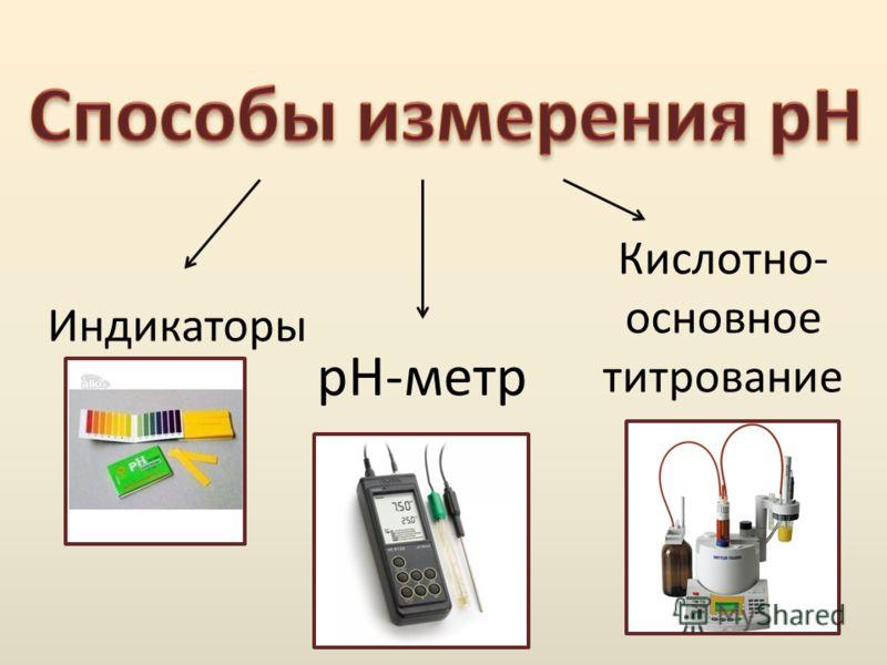 Индикаторы pH-метр Кислотно- основное титрование