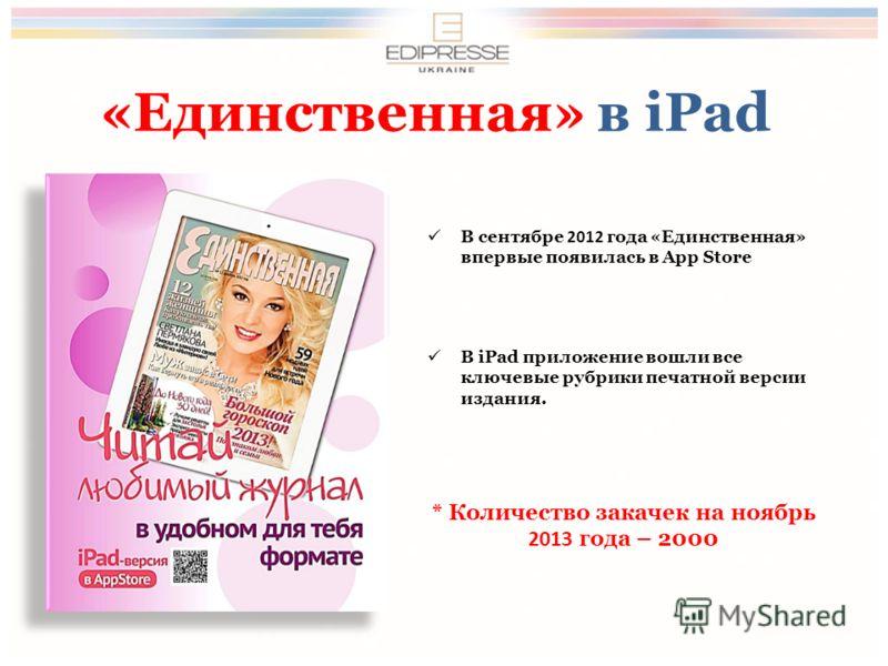 «Единственная» в iPad В сентябре 2012 года «Единственная» впервые появилась в App Store В iPad приложение вошли все ключевые рубрики печатной версии издания. * Количество закачек на ноябрь 2013 года – 2000