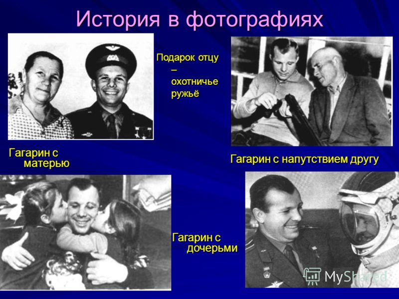 История в фотографиях Гагарин с матерью Подарок отцу – охотничье ружьё Гагарин с дочерьми Гагарин с напутствием другу