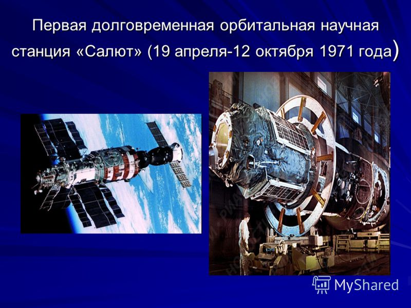 Первая долговременная орбитальная научная станция «Салют» (19 апреля-12 октября 1971 года )