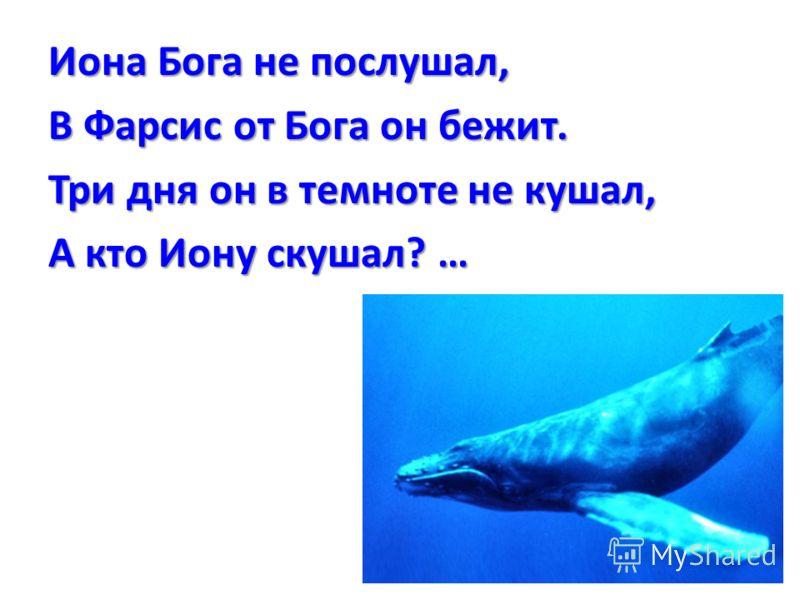 Иона Бога не послушал, В Фарсис от Бога он бежит. Три дня он в темноте не кушал, А кто Иону скушал? …