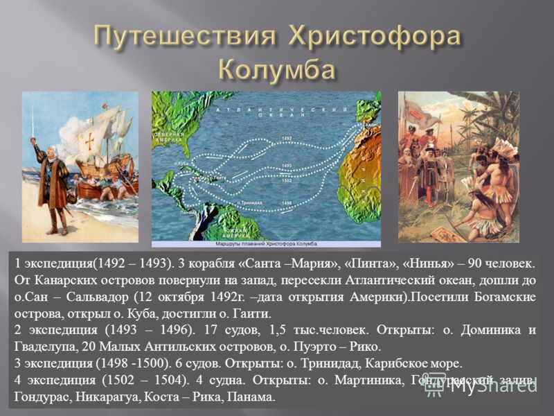 1 экспедиция (1492 – 1493). 3 корабля « Санта – Мария », « Пинта », « Нинья » – 90 человек. От Канарских островов повернули на запад, пересекли Атлантический океан, дошли до о. Сан – Сальвадор (12 октября 1492 г. – дата открытия Америки ). Посетили Б