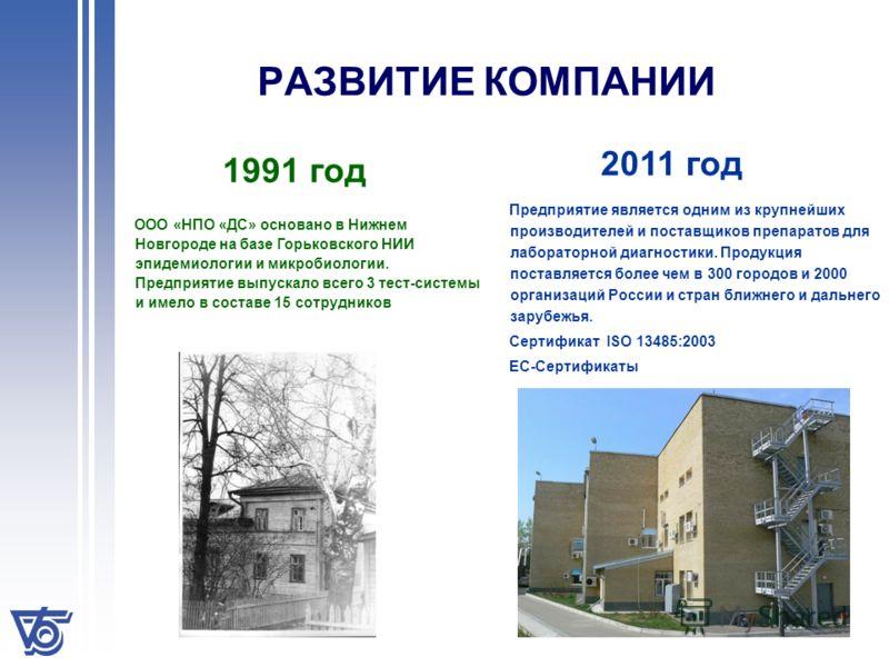 ООО «НПО «ДС» основано в Нижнем Новгороде на базе Горьковского НИИ эпидемиологии и микробиологии. Предприятие выпускало всего 3 тест-системы и имело в составе 15 сотрудников РАЗВИТИЕ КОМПАНИИ 1991 год 2011 год Предприятие является одним из крупнейших