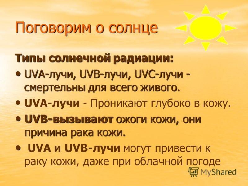 Поговорим о солнце Типы солнечной радиации: UVA-лучи, UVB-лучи, UVC-лучи - смертельны для всего живого. UVA-лучи - Проникают глубоко в кожу. UVB-вызывают ожоги кожи, они причина рака кожи. UVA и UVB-лучи могут привести к раку кожи, даже при облачной