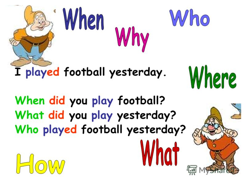 I played football yesterday. When did you play football? What did you play yesterday? Who played football yesterday?