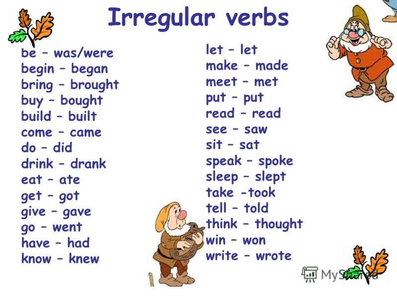 Irregular verbs be – was/were begin – began bring – brought buy – bought build – built come – came do – did drink – drank eat – ate get – got give – gave go – went have – had know – knew let – let make – made meet – met put – put read – read see – sa