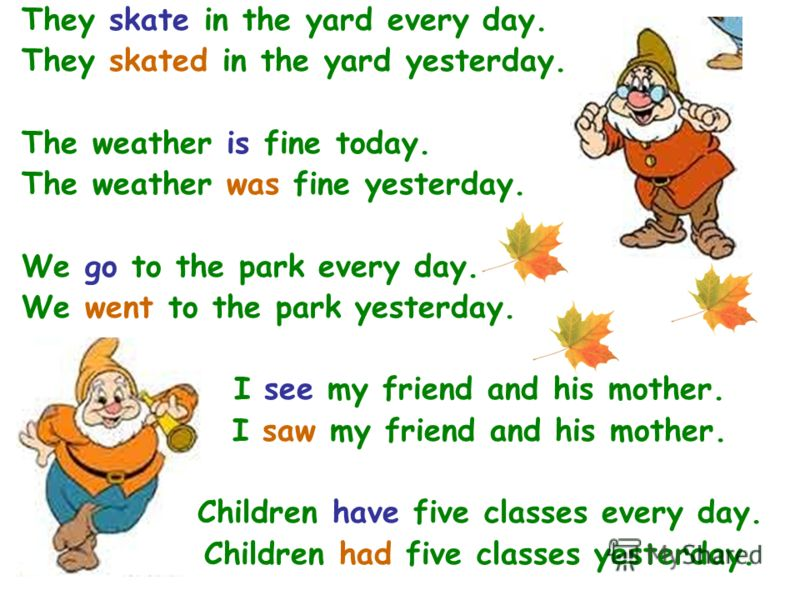 They skate in the yard every day. They skated in the yard yesterday. The weather is fine today. The weather was fine yesterday. We go to the park every day. We went to the park yesterday. I see my friend and his mother. I saw my friend and his mother