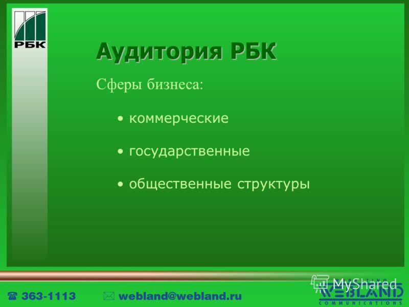 Аудитория РБК Сферы бизнеса: коммерческие государственные общественные структуры