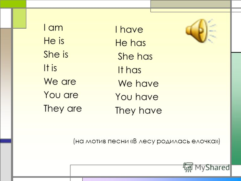 (на мотив песни «В лесу родилась елочка») I am Не is She is It is We are You are They are I have Не has She has It has We have You have They have