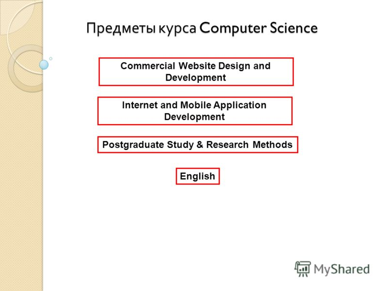 Предметы курса Computer Science Commercial Website Design and Development Internet and Mobile Application Development Postgraduate Study & Research Methods English