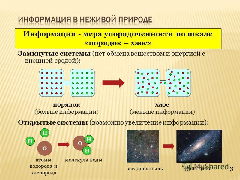3 Информация - мера упорядоченности по шкале «порядок – хаос» порядок (больше информации) хаос (меньше информации) Замкнутые системы (нет обмена веществом и энергией с внешней средой): Открытые системы (возможно увеличение информации): H H O O H H ат