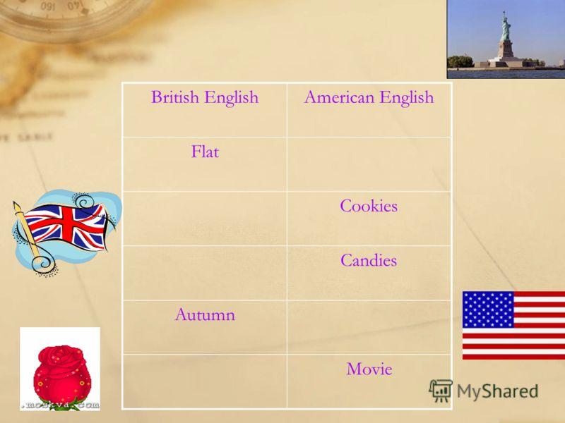 British EnglishAmerican English Flat Cookies Candies Autumn Movie