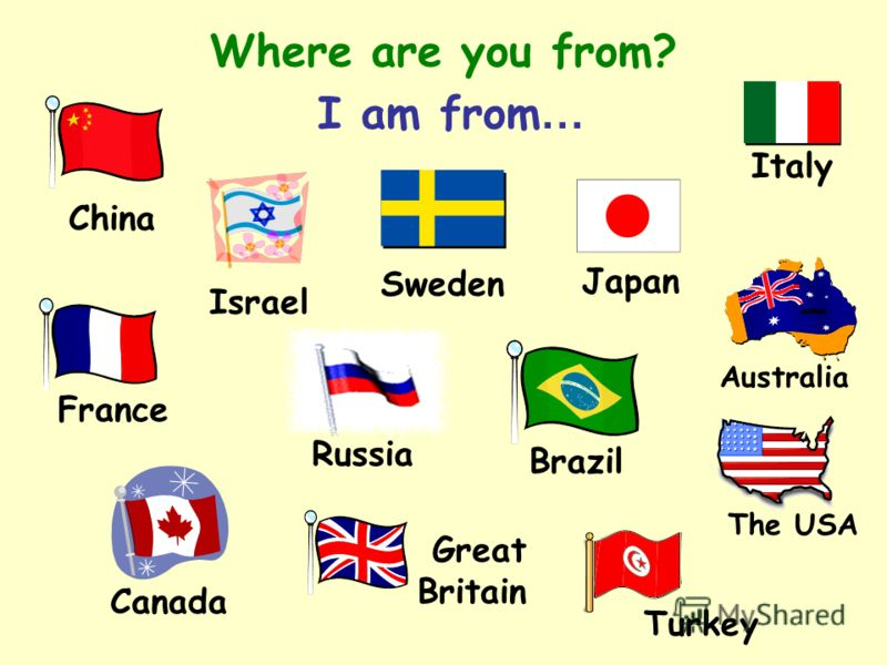 Where are you from? I am from … China Russia Italy The USA Canada Turkey Japan Sweden Israel Great Britain France Brazil Australia