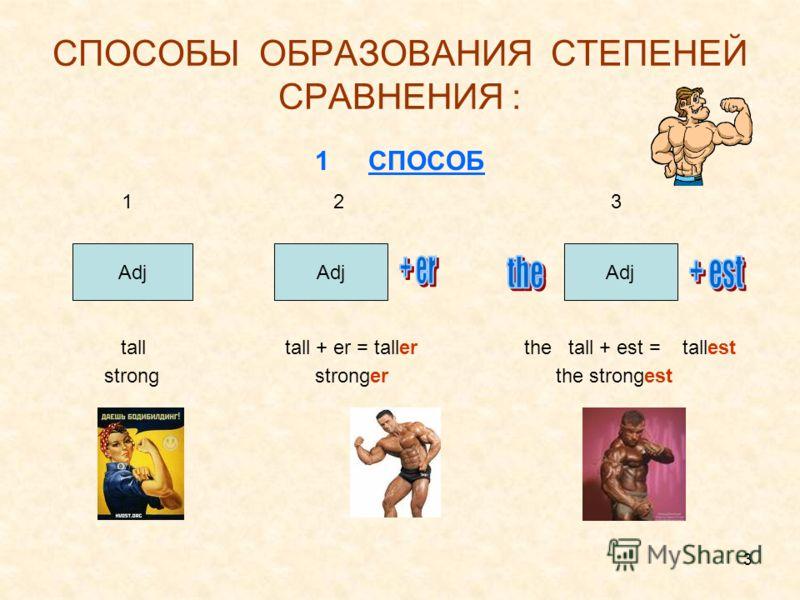 3 СПОСОБЫ ОБРАЗОВАНИЯ СТЕПЕНЕЙ СРАВНЕНИЯ : 1СПОСОБ 1 2 3 tall tall + er = taller the tall + est = tallest strong stronger the strongest Adj