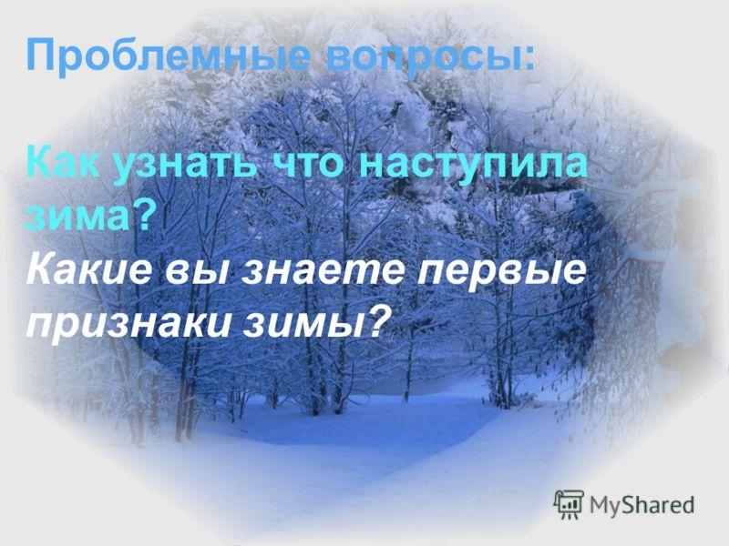 Проблемные вопросы: Как узнать что наступила зима? Как называются зимние месяцы? Какая погода зимой? Проблемные вопросы: Как узнать что наступила зима? Какие вы знаете первые признаки зимы?