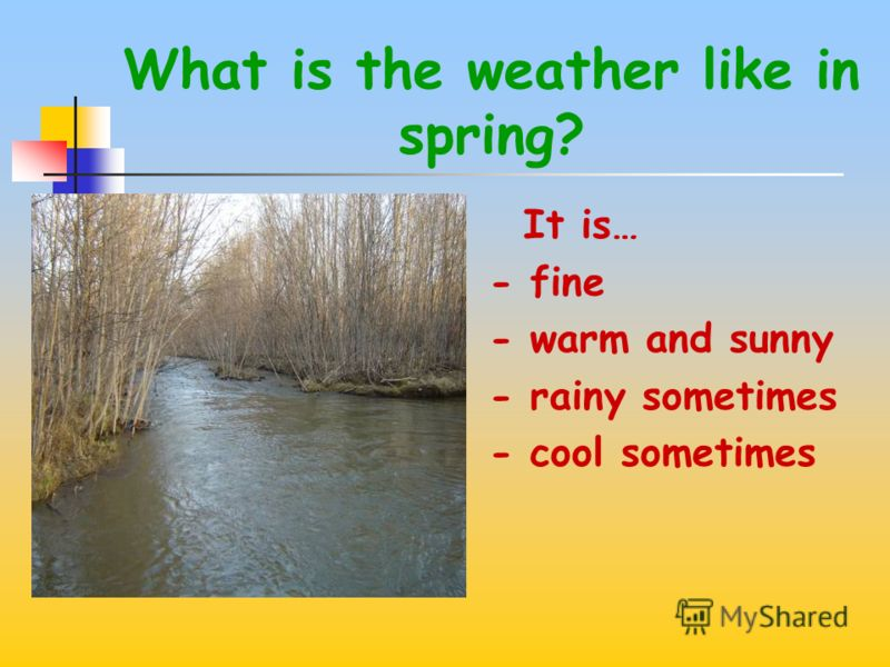 What is the weather like in winter? It is… -frosty and sunny -snowy and cloudy -cold and windy -windy and snowy -slippery