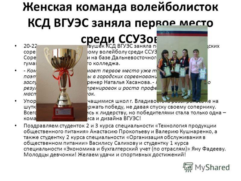Женская команда волейболисток КСД ВГУЭС заняла первое место среди ССУЗов 20-22 апреля команда девушек КСД ВГУЭС заняла первое место в городских соревнованиях по пляжному волейболу среди ССУЗов г. Владивостока. Соревнования проходили на базе Дальневос