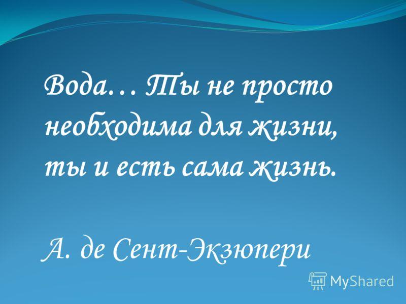 Вода… Ты не просто необходима для жизни, ты и есть сама жизнь. А. де Сент-Экзюпери