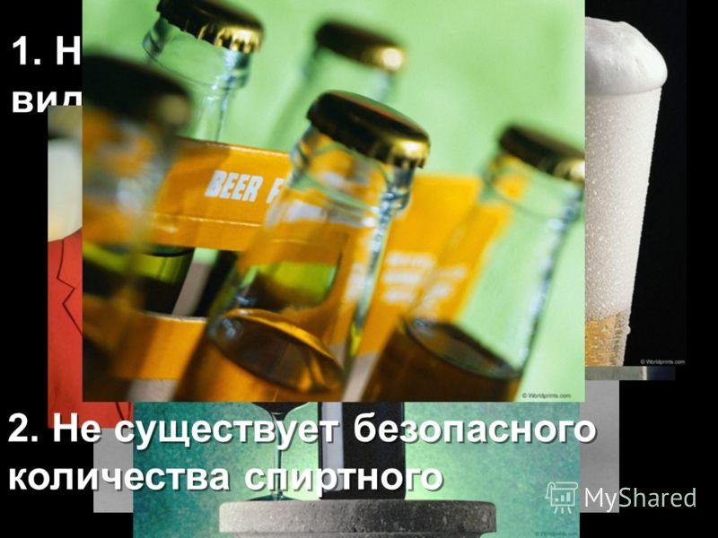1. Не существует безопасных видов спиртного 1. Не существует безопасных видов спиртного 2. Не существует безопасного количества спиртного 2. Не существует безопасного количества спиртного