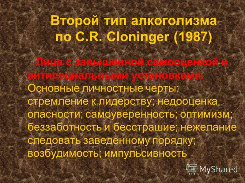 Второй тип алкоголизма по C.R. Cloninger (1987) Лица с завышенной самооценкой и антисоциальными установками. Основные личностные черты: стремление к лидерству; недооценка опасности; самоуверенность; оптимизм; беззаботность и бесстрашие; нежелание сле