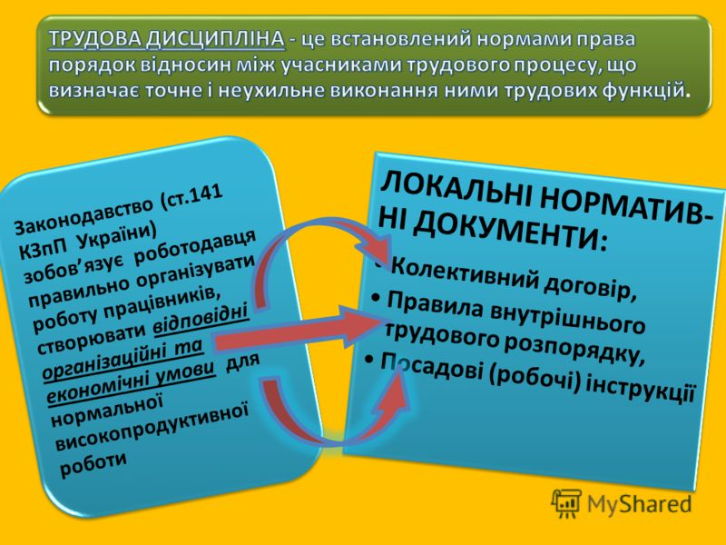 Законодавство (ст.141 КЗпП України) зобовязує роботодавця правильно організувати роботу працівників, створювати відповідні організаційні та економічні умови для нормальної високопродуктивної роботи