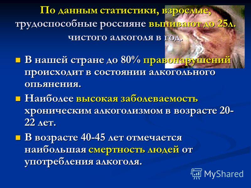 По данным статистики, взрослые, трудоспособные россияне выпивают до 25л. чистого алкоголя в год. В нашей стране до 80% правонарушений происходит в состоянии алкогольного опьянения. В нашей стране до 80% правонарушений происходит в состоянии алкогольн