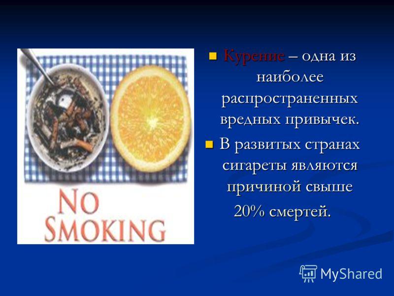 Курение – одна из наиболее распространенных вредных привычек. В развитых странах сигареты являются причиной свыше 20% смертей.