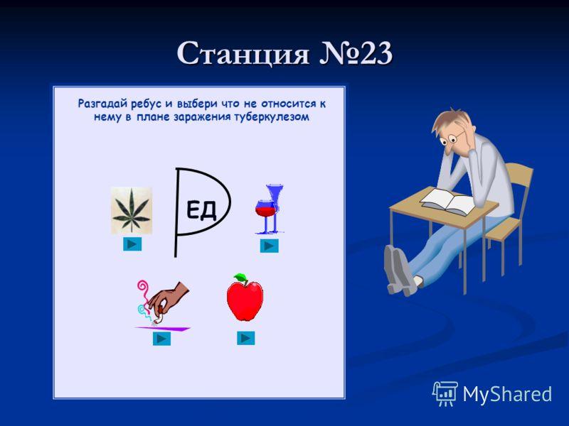 Станция 23 Разгадай ребус и выбери что не относится к нему в плане заражения туберкулезом ЕД