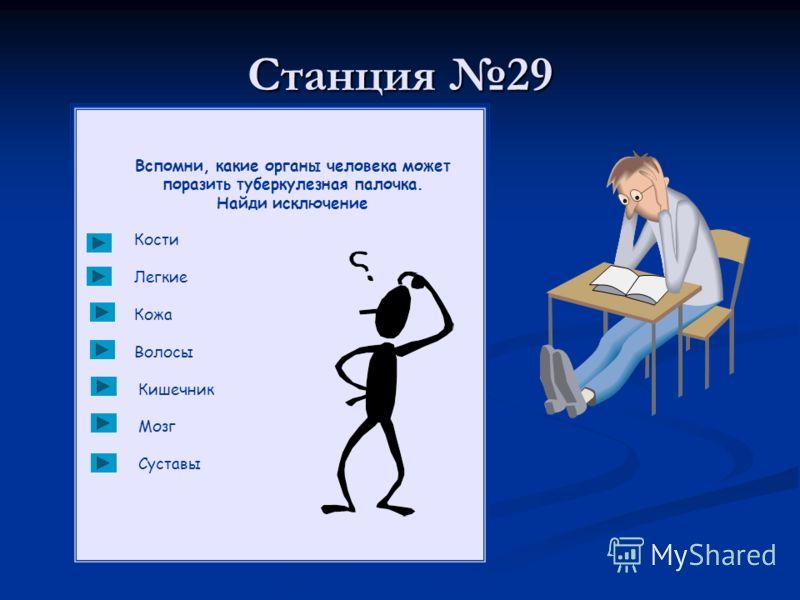 Станция 29 Вспомни, какие органы человека может поразить туберкулезная палочка. Найди исключение Кости Легкие Кожа Волосы Кишечник Мозг Суставы