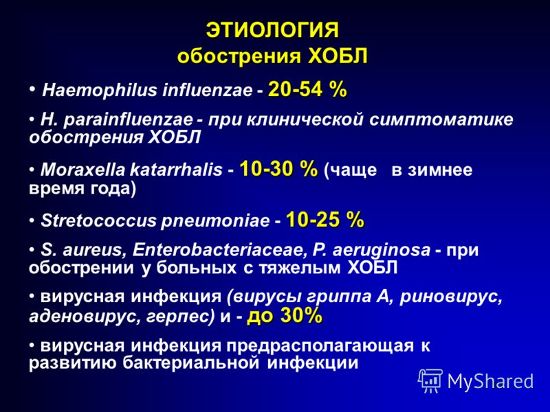 50 20-54 % Haemophilus influenzae - 20-54 % H. parainfluenzae - при клинической симптоматике обострения ХОБЛ 10-30 % Moraxella katarrhalis - 10-30 % (чаще в зимнее время года) 10-25 % Stretococcus pneumoniae - 10-25 % S. aureus, Enterobacteriaceae, P