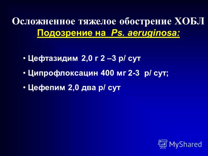 66 Осложненное тяжелое обострение ХОБЛ Подозрение на Ps. аeruginosa: Цефтазидим 2,0 г 2 –3 р/ сут Ципрофлоксацин 400 мг 2-3 р/ сут; Цефепим 2,0 два р/ сут