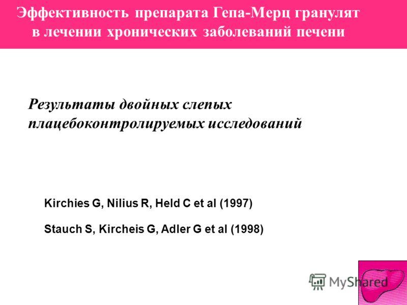 Эффективность препарата Гепа-Мерц гранулят в лечении хронических заболеваний печени Результаты двойных слепых плацебоконтролируемых исследований Kirchies G, Nilius R, Held C et al (1997) Stauch S, Kircheis G, Adler G et al (1998)