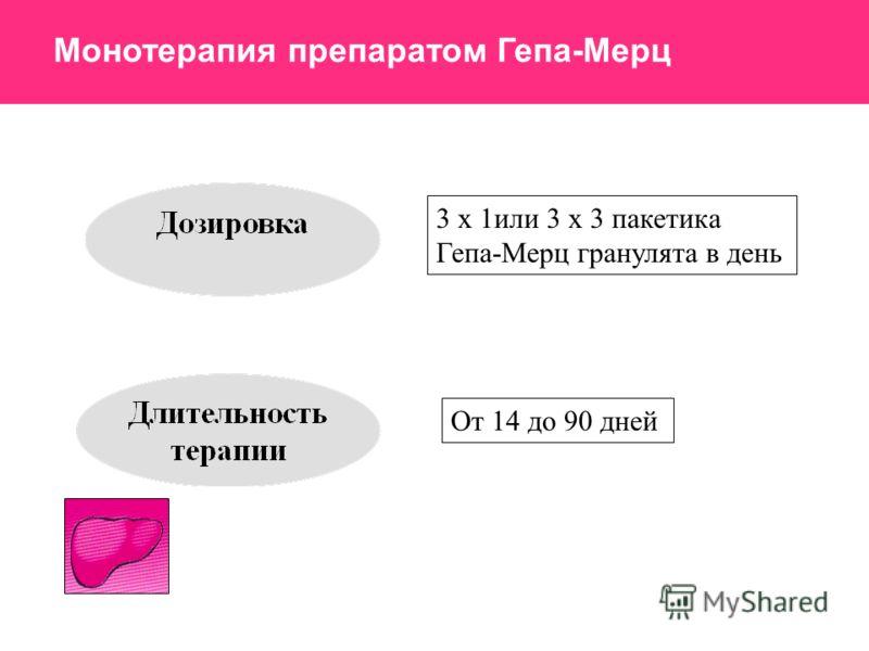 3 х 1или 3 х 3 пакетика Гепа-Мерц гранулята в день От 14 до 90 дней Монотерапия препаратом Гепа-Мерц