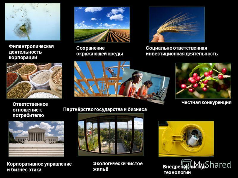 Филантропическая деятельность корпораций Социально ответственная инвестиционная деятельность Честная конкуренция Сохранение окружающей среды Ответственное отношение к потребителю Внедрение чистых технологий Корпоративное управление и бизнес этика Эко