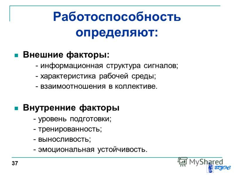Работоспособность определяют: Внешние факторы: - информационная структура сигналов; - характеристика рабочей среды; - взаимоотношения в коллективе. Внутренние факторы - уровень подготовки; - тренированность; - выносливость; - эмоциональная устойчивос