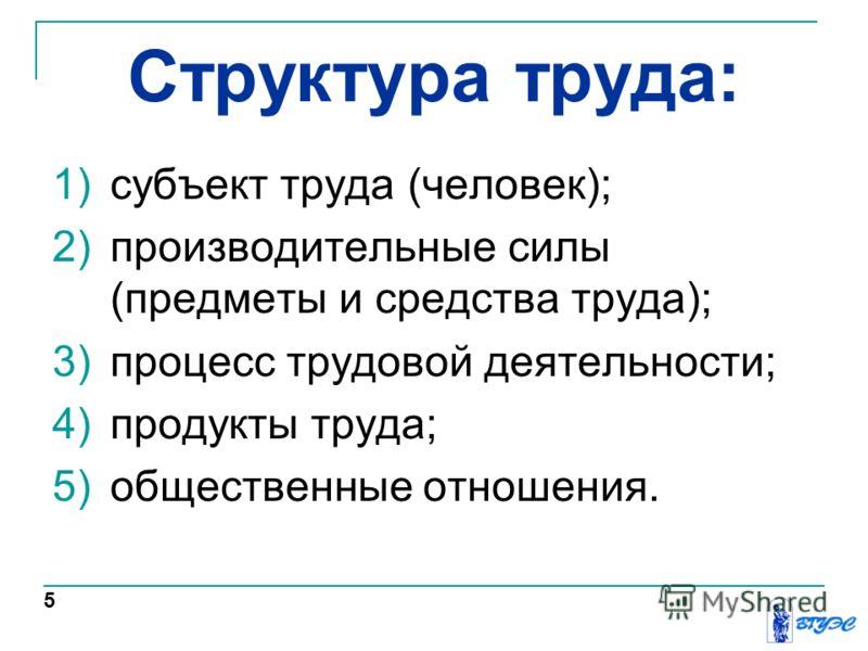 Структура труда: 1)субъект труда (человек); 2)производительные силы (предметы и средства труда); 3)процесс трудовой деятельности; 4)продукты труда; 5)общественные отношения. 5