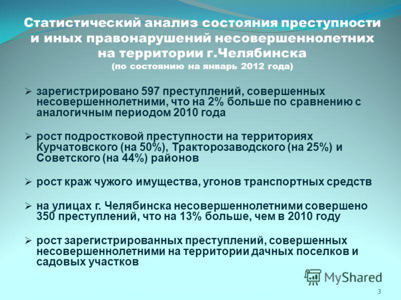 Статистический анализ состояния преступности и иных правонарушений несовершеннолетних на территории г.Челябинска (по состоянию на январь 2012 года) зарегистрировано 597 преступлений, совершенных несовершеннолетними, что на 2% больше по сравнению с ан