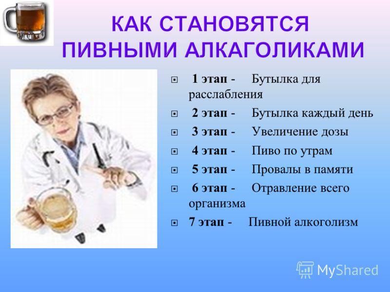 1 этап - Бутылка для расслабления 2 этап - Бутылка каждый день 3 этап - Увеличение дозы 4 этап - Пиво по утрам 5 этап - Провалы в памяти 6 этап - Отравление всего организма 7 этап - Пивной алкоголизм