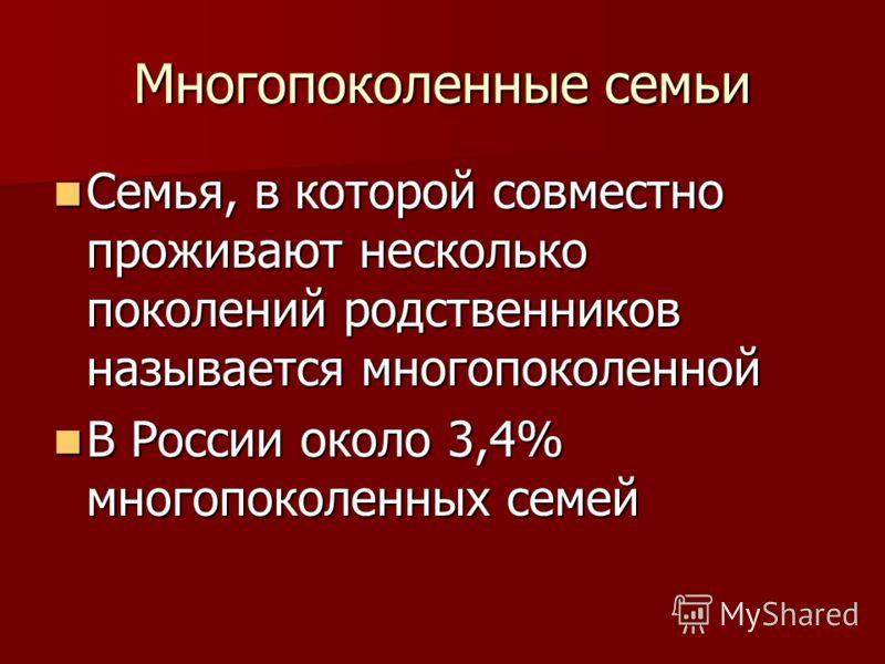 Многопоколенные семьи Семья, в которой совместно проживают несколько поколений родственников называется многопоколенной Семья, в которой совместно проживают несколько поколений родственников называется многопоколенной В России около 3,4% многопоколен