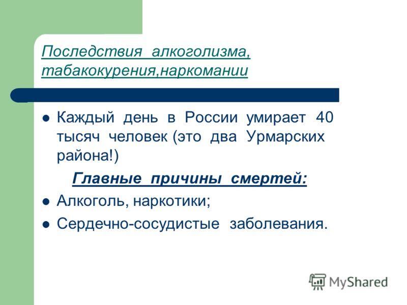 Последствия алкоголизма, табакокурения,наркомании Каждый день в России умирает 40 тысяч человек (это два Урмарских района!) Главные причины смертей: Алкоголь, наркотики; Сердечно-сосудистые заболевания.