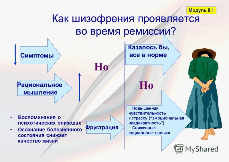 Как шизофрения проявляется во время ремиссии? Модуль II.1 Воспоминания о психотических эпизодах Осознание болезненного состояния снижает качество жизни Рациональное мышление Симптомы Казалось бы, все в норме Но Повышенная чувствительность к стрессу (